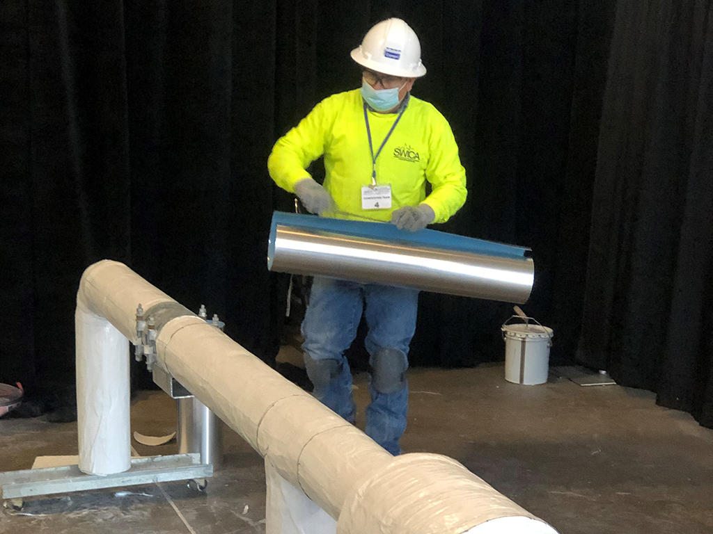 installing metal jacketing on Cryogel cryogenic pipe insulation
